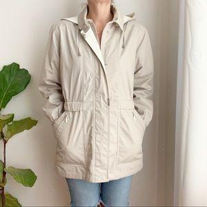 London Fog Jacket Trench Coat Beige Cotton Blend S